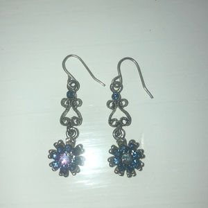 Earrings -Silver tone with light blue crystals